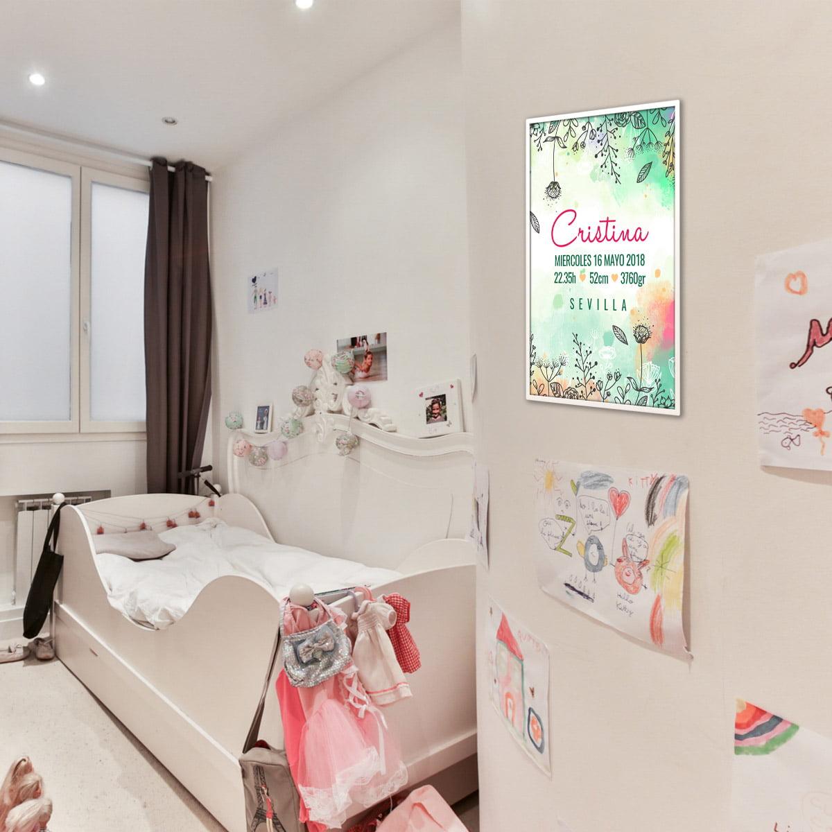 Lamina de nacimiento Meri Flowers habitación