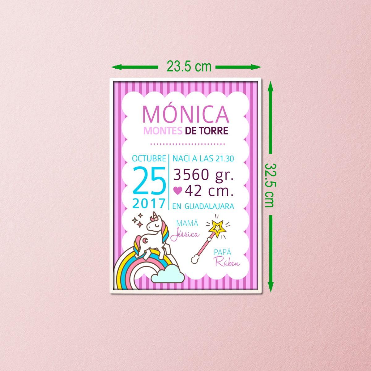 Lamina nacimiento Unicornio 21x29 con marco de 23x32