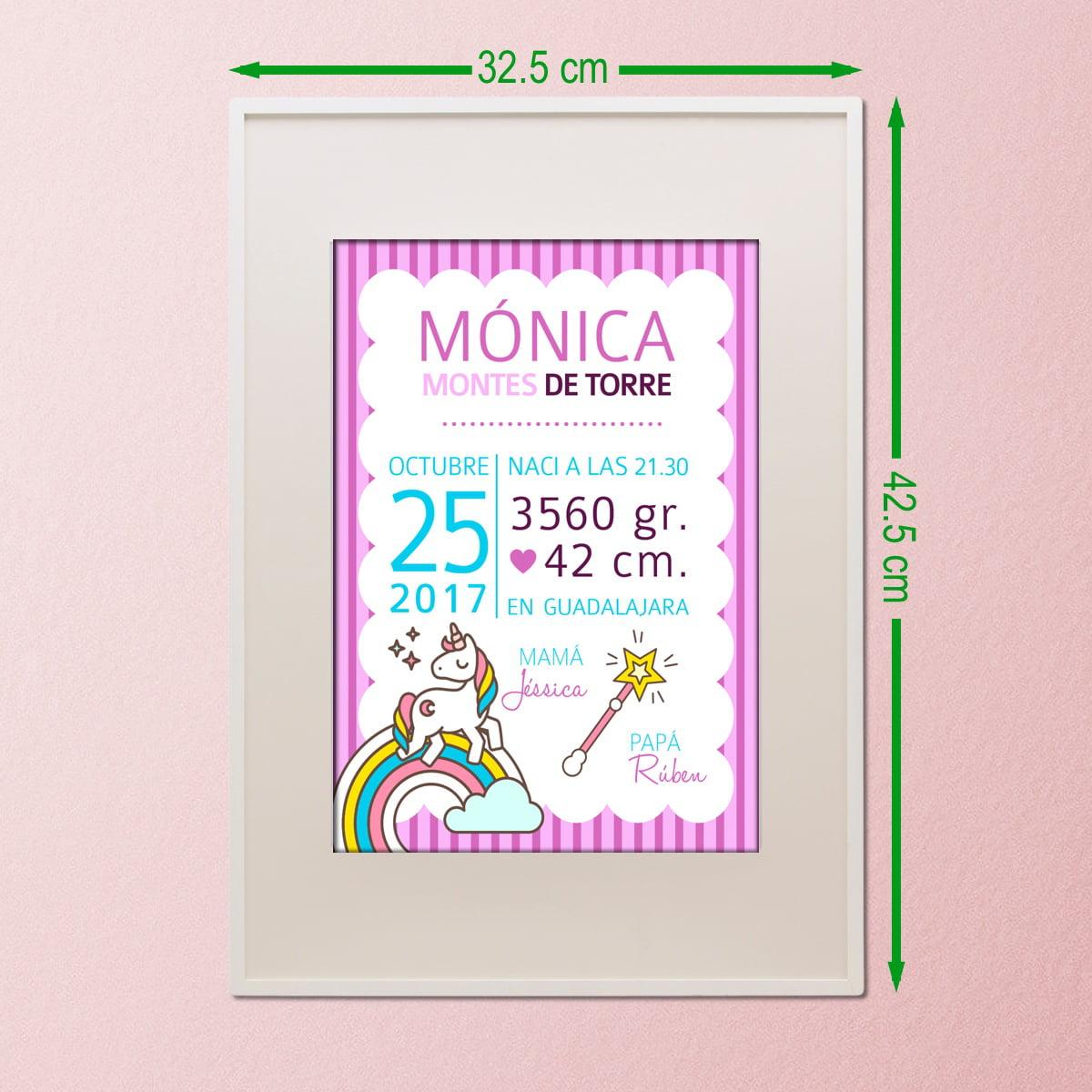Lamina nacimiento Unicornio 21x29 con marco de 32x42