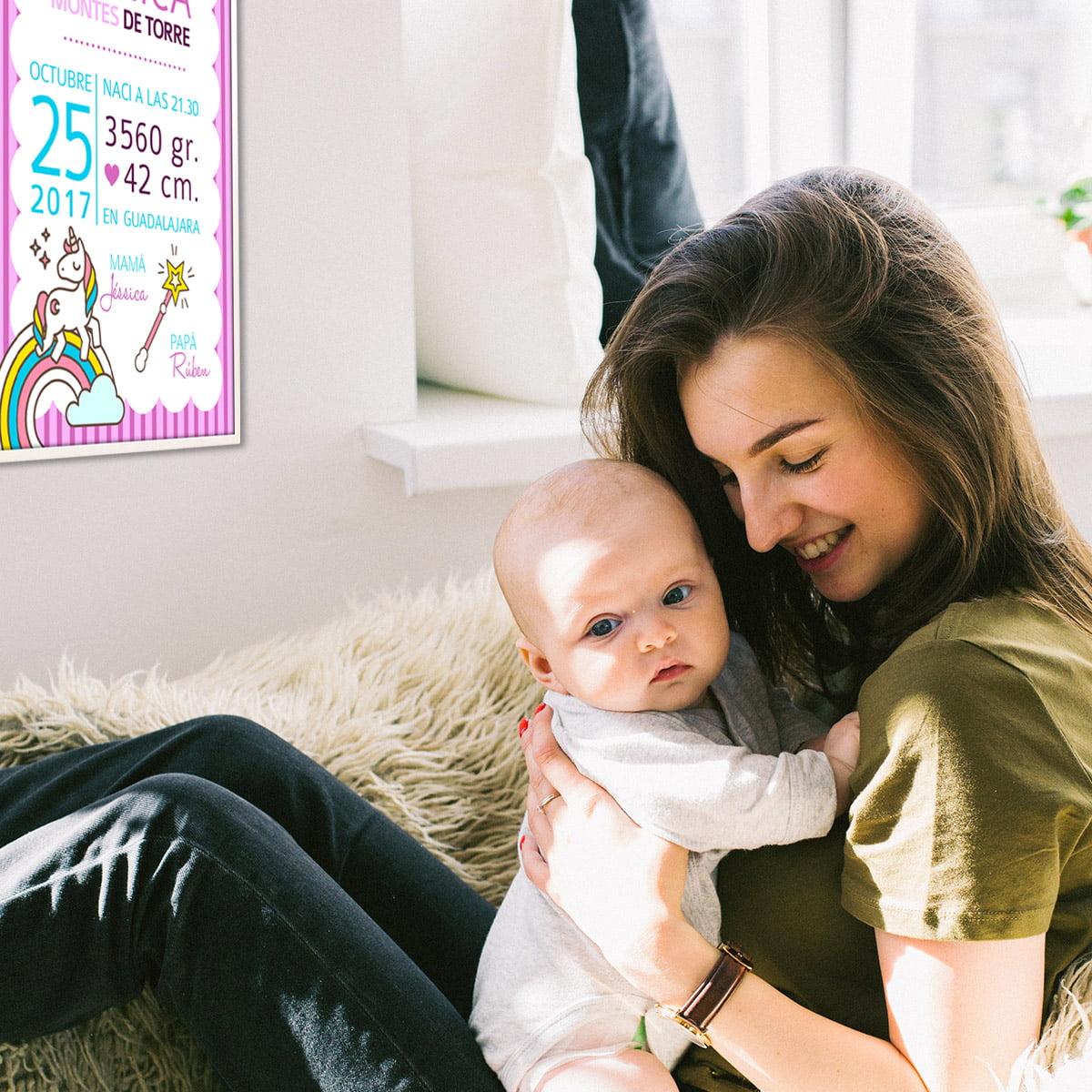 Lamina nacimiento Unicornio niña y mamá
