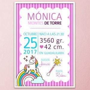 "Lámina de nacimiento personalizada modelo ""Unicornio"""