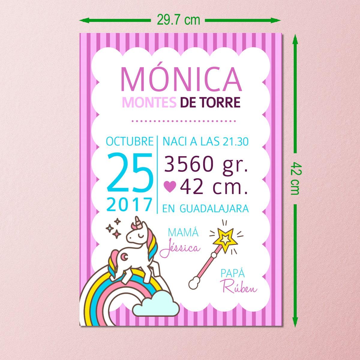 Lamina nacimiento Unicornio sin marco-29x42