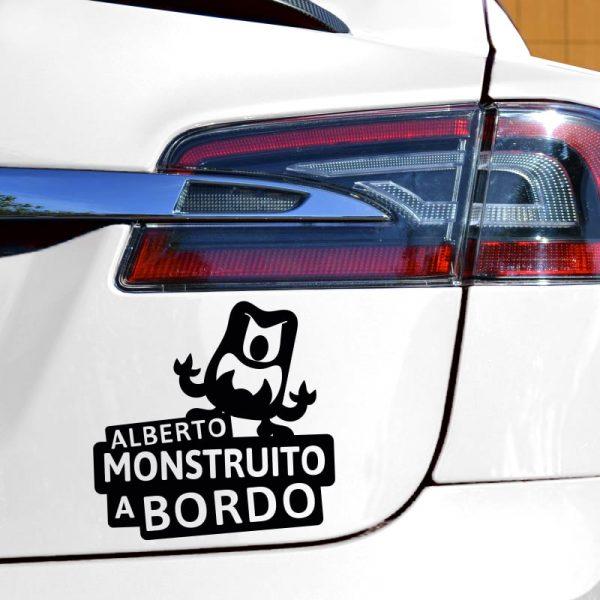 Pegatina Bebé a Bordo - El Monstruito Furioso - en coche con vinilo negro