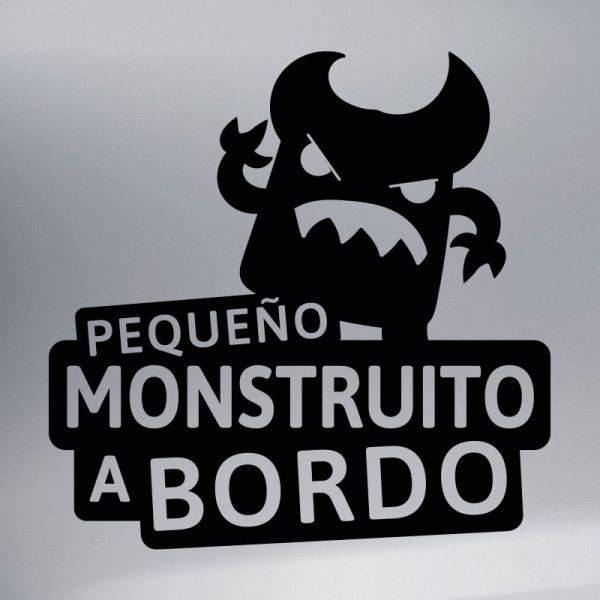 Pegatina Bebé a Bordo - El Monstruito Enfadín - vinilo negro