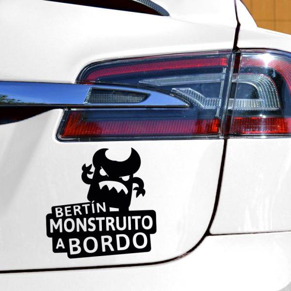Pegatina Bebé a Bordo - El Monstruito Enfadín - en coche - vinilo negro