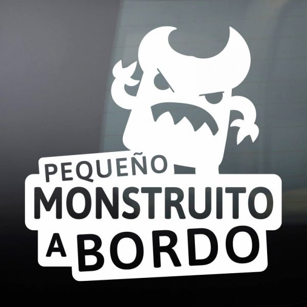Pegatina Bebé a Bordo - El Monstruito Enfadín - vinilo blanco