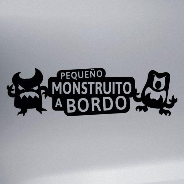 Pegatina Bebé a Bordo - Pequeño Monstruito - vinilo negro