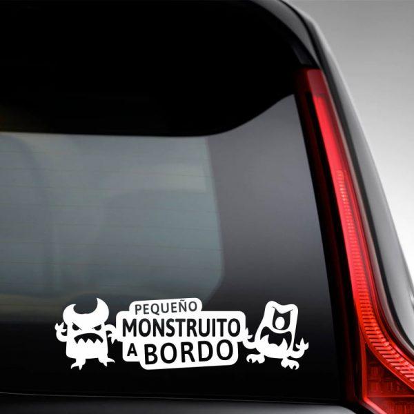 Pegatina Bebé a Bordo - Pequeño Monstruito - en la luna trasera con vinilo blanco