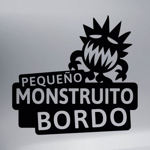 Pegatina Bebé a Bordo - El Monstruito Risitas - vinilo negro