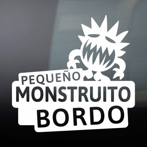 Pegatina Bebé a Bordo - El Monstruito Risitas - vinilo blanco