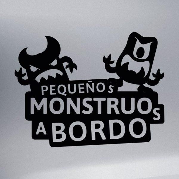 Pegatina Bebé a Bordo - Dos Monstruitos - vinilo negro