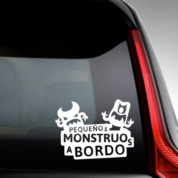 Pegatina Bebé a Bordo - Dos Monstruitos - en la luna trasera - vinilo blanco