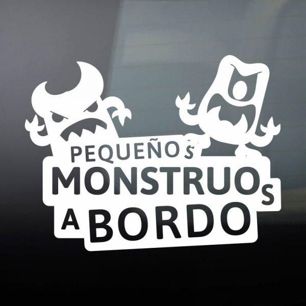 Pegatina Bebé a Bordo - Dos Monstruitos - vinilo blanco