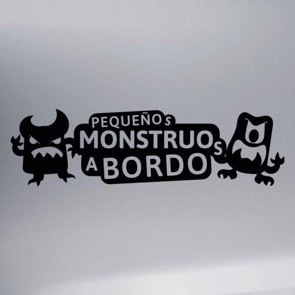 Pegatina Bebé a Bordo - Pequeños Monstruitos - vinilo negro