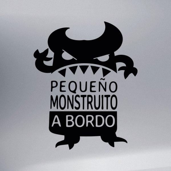 Pegatina Bebé a Bordo - El Monstruito Enfadín Text Art - vinilo negro