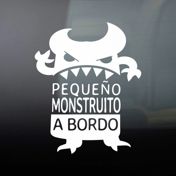 Pegatina Bebé a Bordo - El Monstruito Enfadín Text Art - vinilo blanco