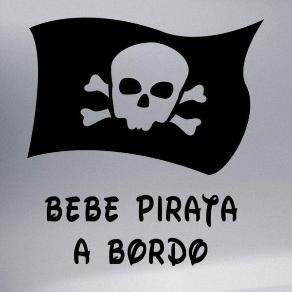 Pegatina Bebé a Bordo - Bandera Pirata en negro