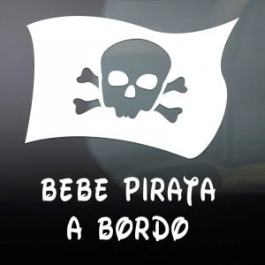 """Pegatina de Vinilo  """"Bebé a bordo – Bandera Pirata"""""""