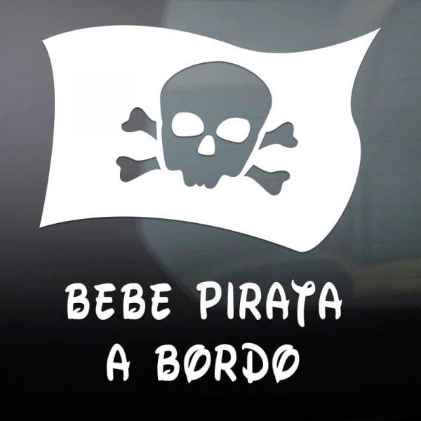 Pegatina Bebé a Bordo - Bandera Pirata en blanco