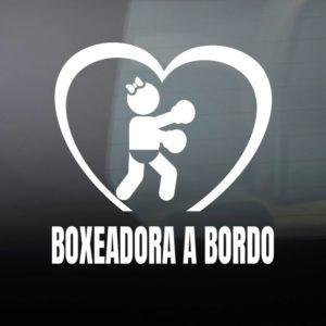 """Pegatina de Vinilo  """"Bebé a bordo – Boxeadora"""""""