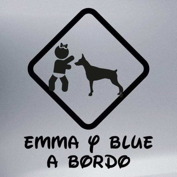 """Pegatina Bebé a Bordo Chica y Perro """"Blue"""" en negro"""