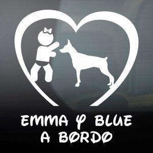Pegatina de Vinilo Bebé a Bordo Chica y Perro – «Blue»