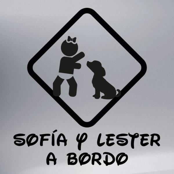 """Pegatina Bebé a Bordo Chica y Perro """"Lester"""" en negro"""