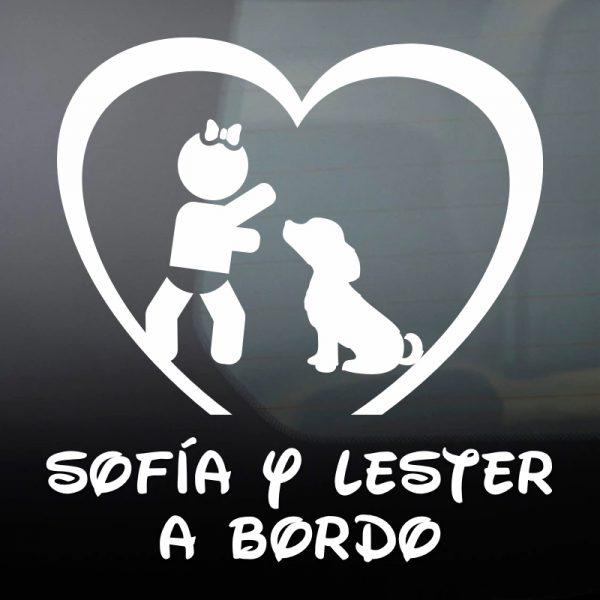 """Pegatina Bebé a Bordo Chica y Perro """"Lester"""" en blanco"""