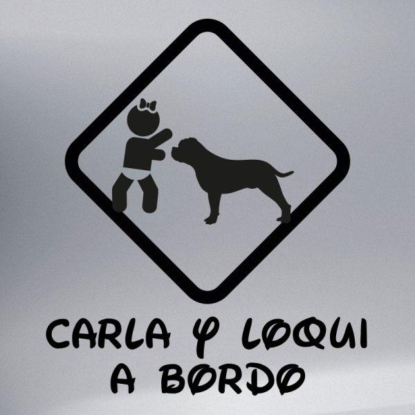 """Pegatina Bebé a Bordo Chica y Perro """"Loqui"""" en negro"""