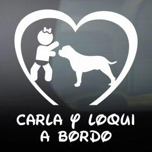 """Pegatina de Vinilo Bebé a Bordo Chica y Perro – """"Loqui"""""""