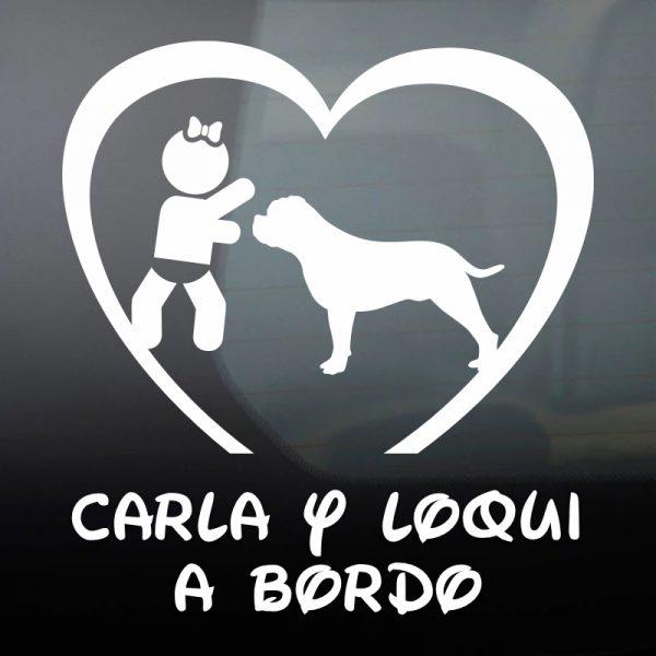 """Pegatina Bebé a Bordo Chica y Perro """"Loqui"""" en blanco"""