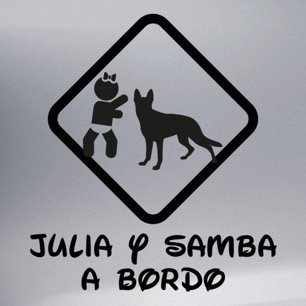 """Pegatina Bebé a Bordo Chica y Perro """"Samba"""" en negro"""