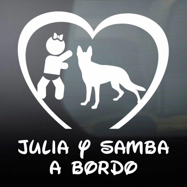 """Pegatina Bebé a Bordo Chica y Perro """"Samba"""" en blanco"""