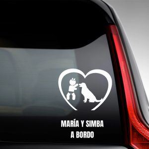 "Pegatina de Vinilo Bebé a Bordo Chica y Perro – ""Simba"""
