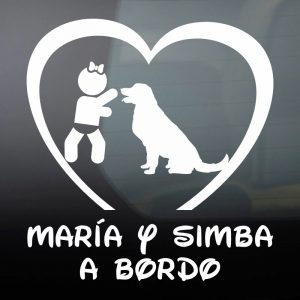 Pegatina de Vinilo Bebé a Bordo Chica y Perro – «Simba»