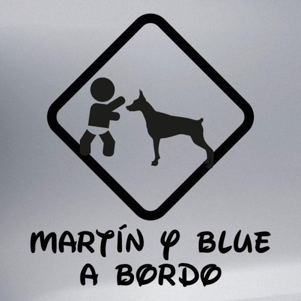 """Pegatina Bebé a Bordo Chico y Perro """"Blue"""" en negro"""