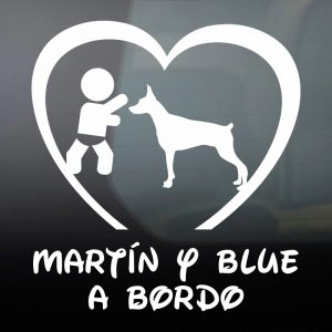 """Pegatina de Vinilo Bebé a Bordo Chico y Perro – """"Blue"""""""