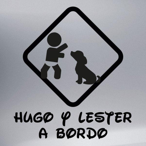 """Pegatina Bebé a Bordo Chico y Perro """"Lester"""" en negro"""