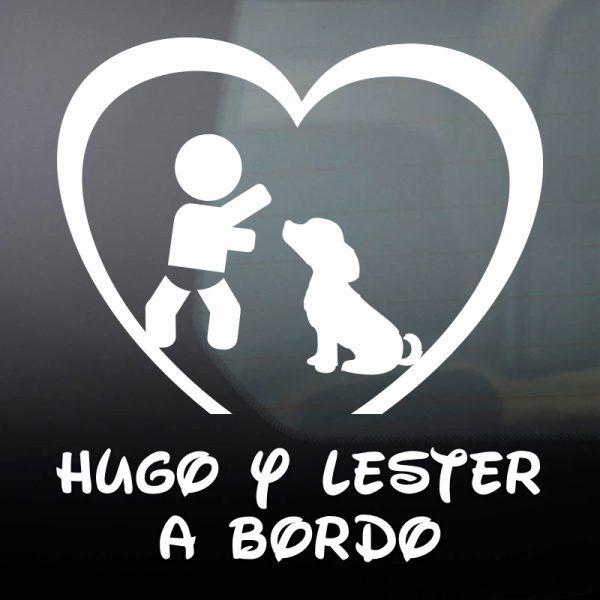 """Pegatina Bebé a Bordo Chico y Perro """"Lester"""" en blanco"""