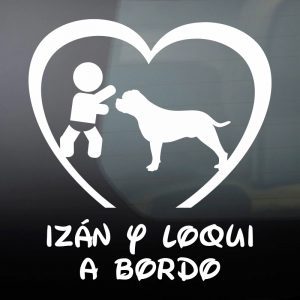 Pegatina de Vinilo Bebé a Bordo Chico y Perro – «Loqui»