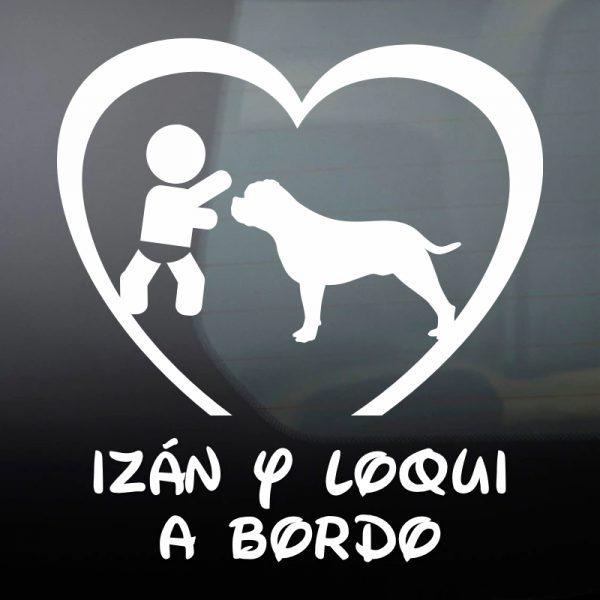 """Pegatina Bebé a Bordo Chico y Perro """"Loqui"""" en blanco"""
