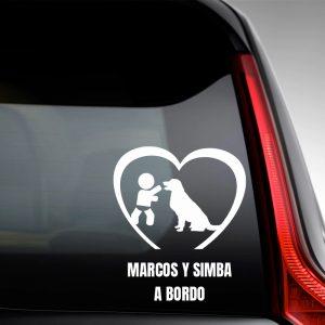 Pegatina de Vinilo Bebé a Bordo Chico y Perro – «Simba»
