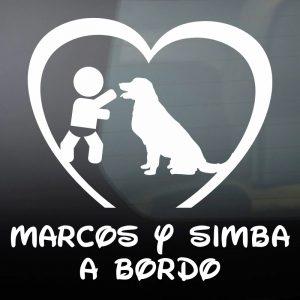"""Pegatina de Vinilo Bebé a Bordo Chico y Perro – """"Simba"""""""