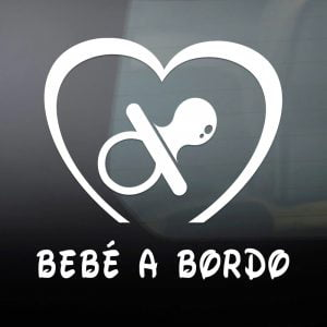"Pegatina de Vinilo  ""Bebé a bordo – Chupete"""