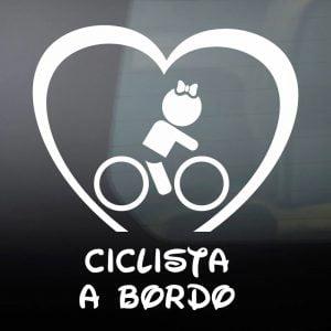 Pegatina de Vinilo  «Bebé a bordo – Ciclista Chica