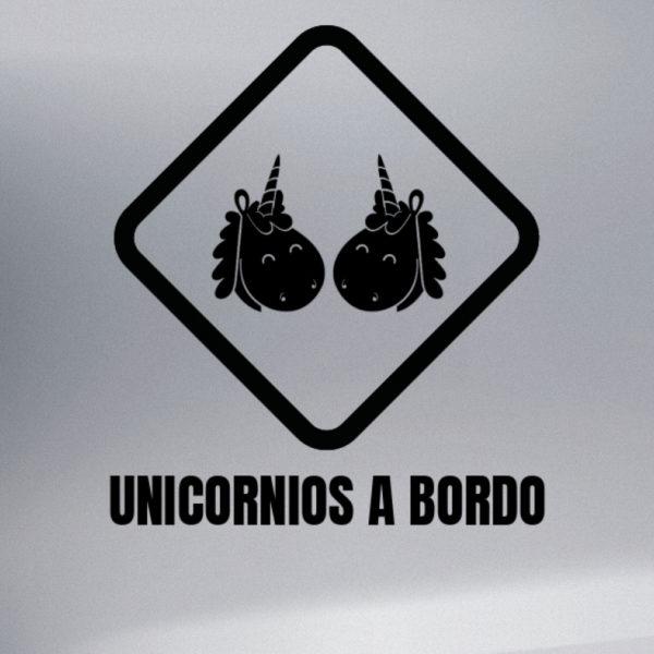 Pegatina Bebé a Bordo - Dos Unicornios en negro