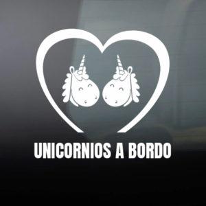 """Pegatina de Vinilo  """"Bebé a bordo – Dos Unicornios"""""""