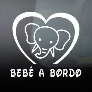 """Pegatina de Vinilo  """"Bebé a bordo – Elefante"""""""