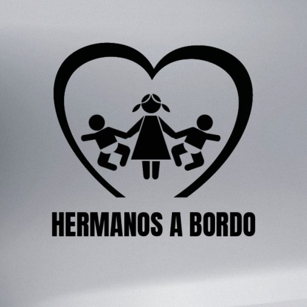 Pegatina Bebé a Bordo - Dos Hermana Mayor con Dos Hermanos bebé en negro