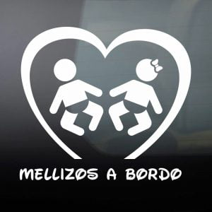 Pegatina de Vinilo  «Bebé a bordo – Mellizos»